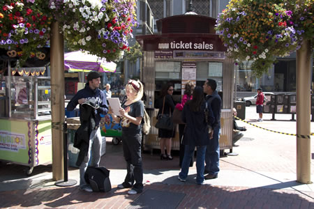 Ticket Booth to Purchase Cable Car ticket at Powell and Market, San Francisco