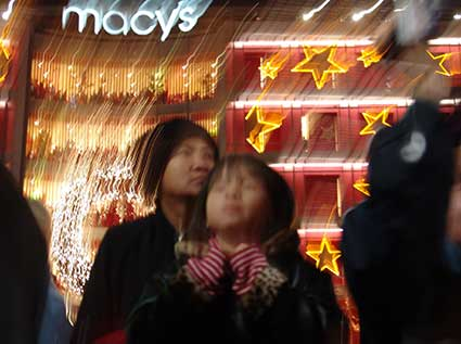 Watching the Christmas Tree Lighing in front of Macy's