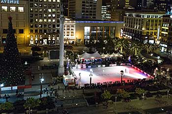 union square ice skating rink from up above at night - Is Macys Open On Christmas