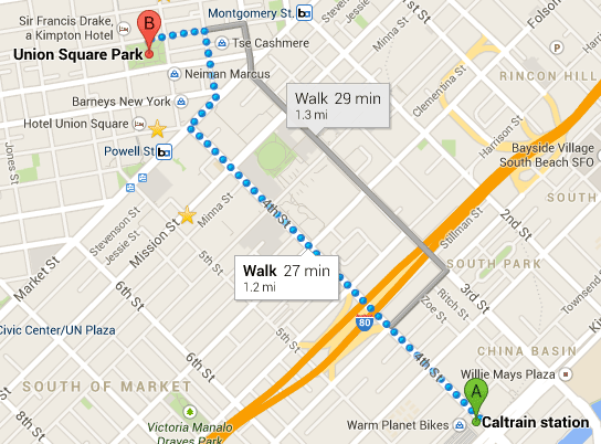 Directions to Union Square by Car, Bart & Caltrain