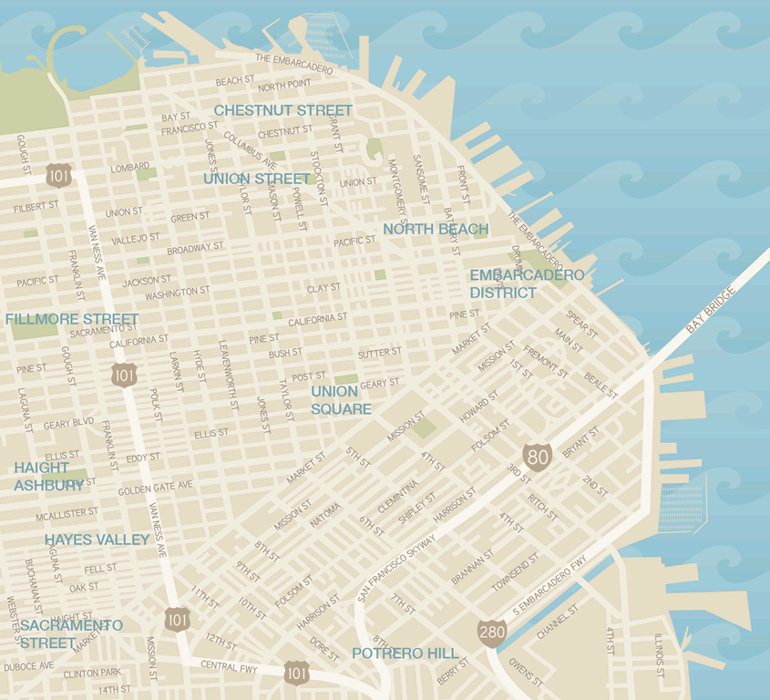 Map San Franciscos Shopping Districts Union Square Guide