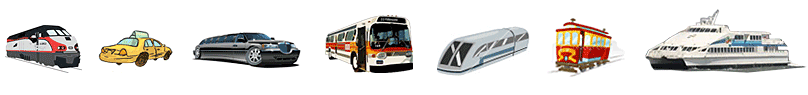 transportation images for train, bart, cable car, limousine, ferry, bart and taxis